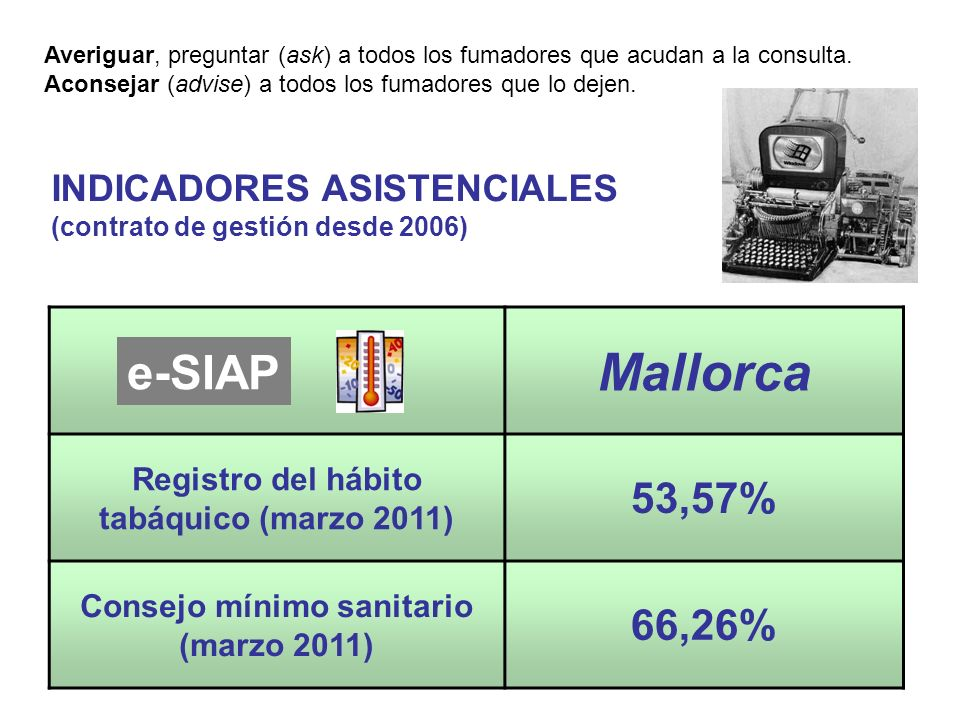 INDICADORES ASISTENCIALES (contrato de gestión desde 2006) Mallorca Registro del hábito tabáquico (marzo 2011) 53,57% Consejo mínimo sanitario (marzo