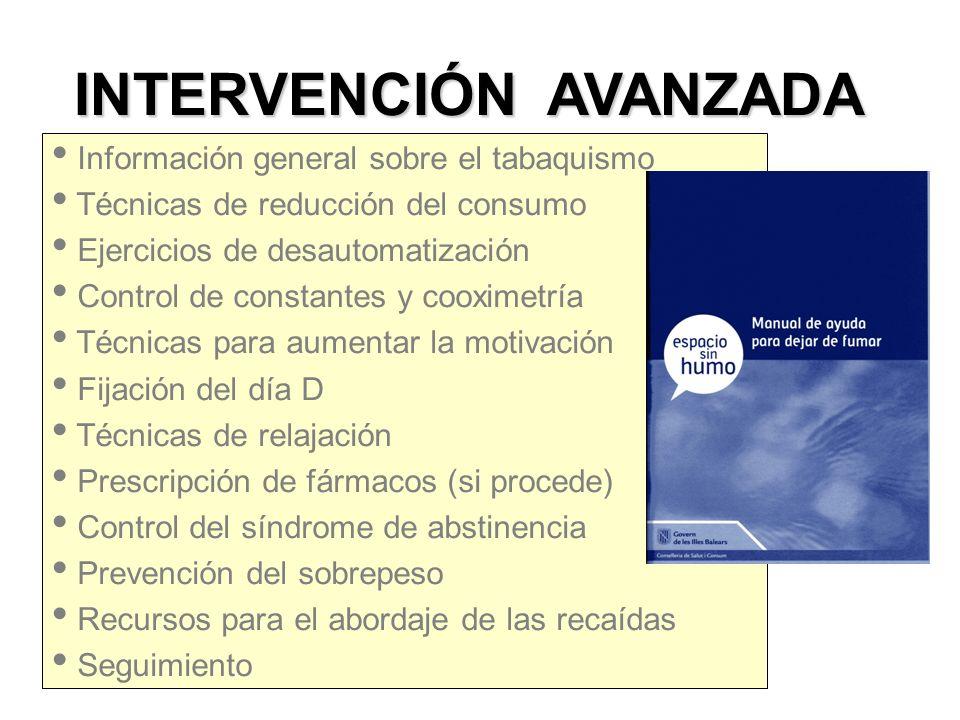 INTERVENCIÓN AVANZADA INDIVIDUAL GRUPAL Información general sobre el tabaquismo Técnicas de reducción del consumo Ejercicios de desautomatización Cont