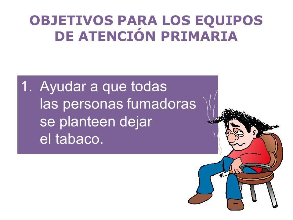 1.Ayudar a que todas las personas fumadoras se planteen dejar el tabaco. OBJETIVOS PARA LOS EQUIPOS DE ATENCIÓN PRIMARIA