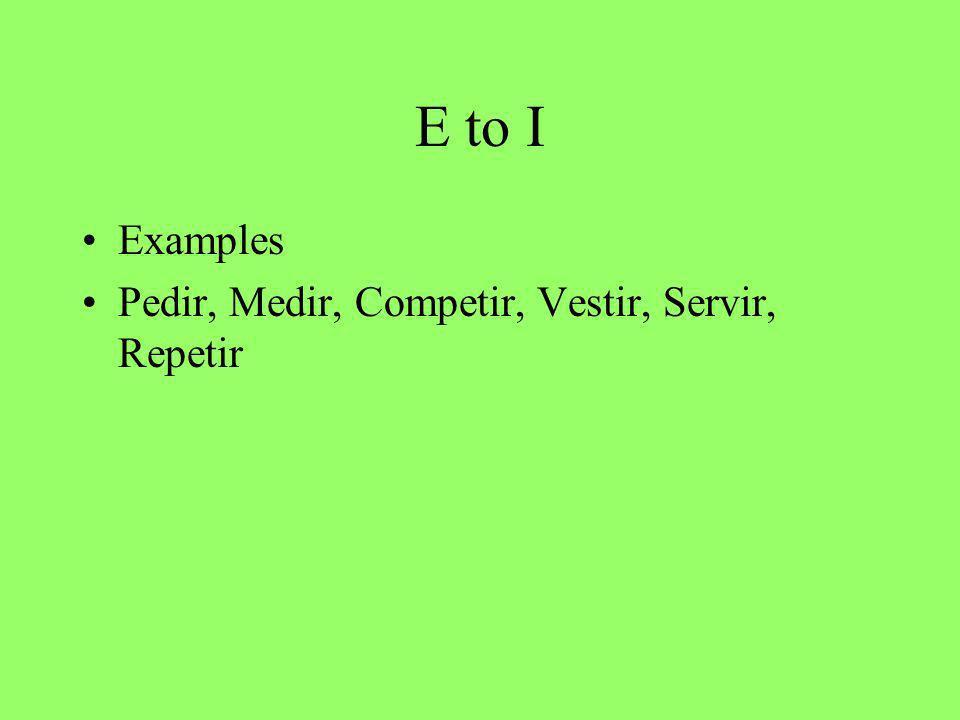 E to I Examples Pedir, Medir, Competir, Vestir, Servir, Repetir