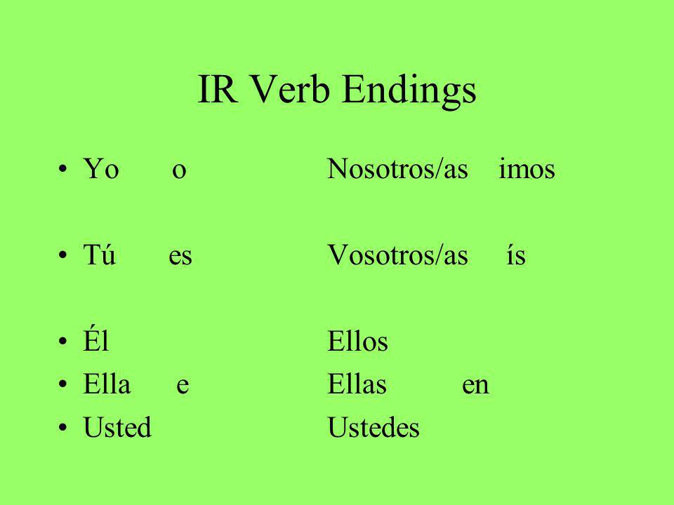 IR Verb Endings Yo oNosotros/as imos Tú esVosotros/as ís ÉlEllos Ella eEllas en UstedUstedes
