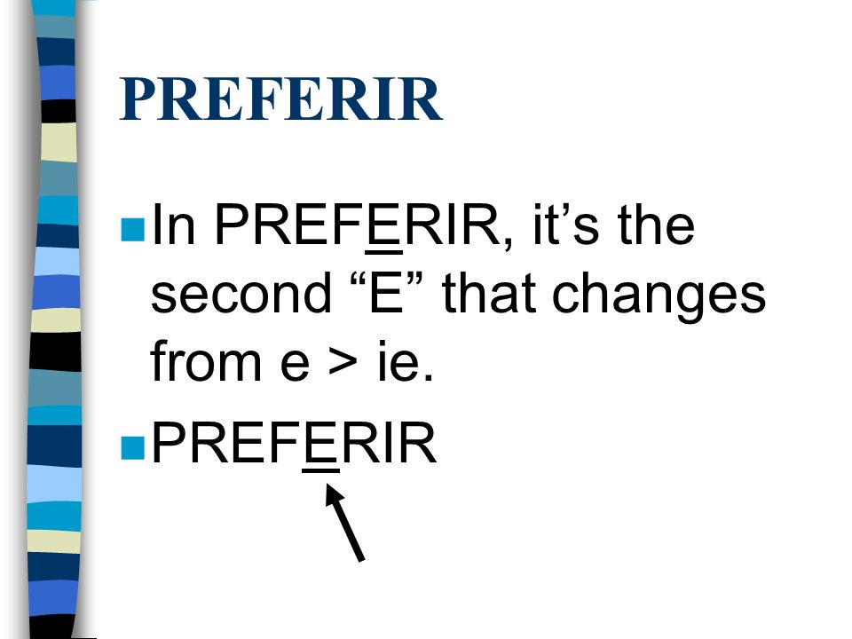 PREFERIR n Preferir is conjugated the same way as Querer and Pensar, however it is an -ir verb. n Use the endings o, es, e, imos, ís, en