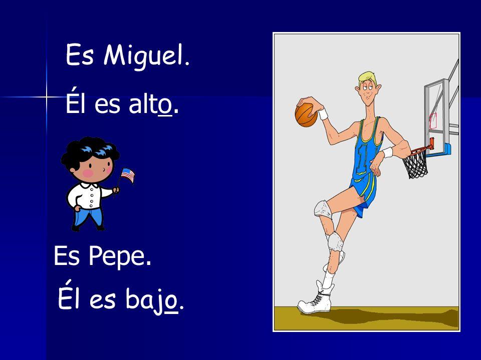 Es Miguel. Él es alto. Es Pepe. Él es bajo.