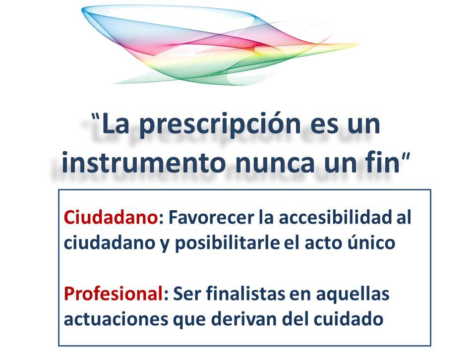 La prescripción es un instrumento nunca un fin Ciudadano: Favorecer la accesibilidad al ciudadano y posibilitarle el acto único Profesional: Ser final