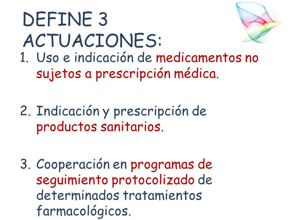 DEFINE 3 ACTUACIONES: 1.Uso e indicación de medicamentos no sujetos a prescripción médica. 2.Indicación y prescripción de productos sanitarios. 3.Coop