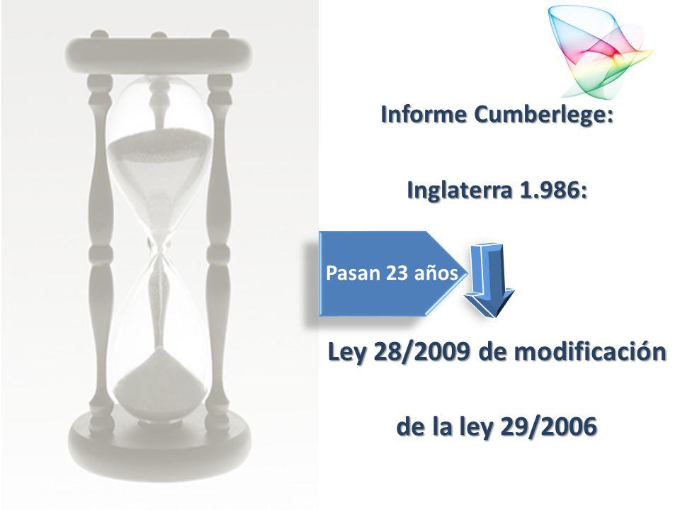Informe Cumberlege: Inglaterra 1.986: Ley 28/2009 de modificación de la ley 29/2006 Pasan 23 años