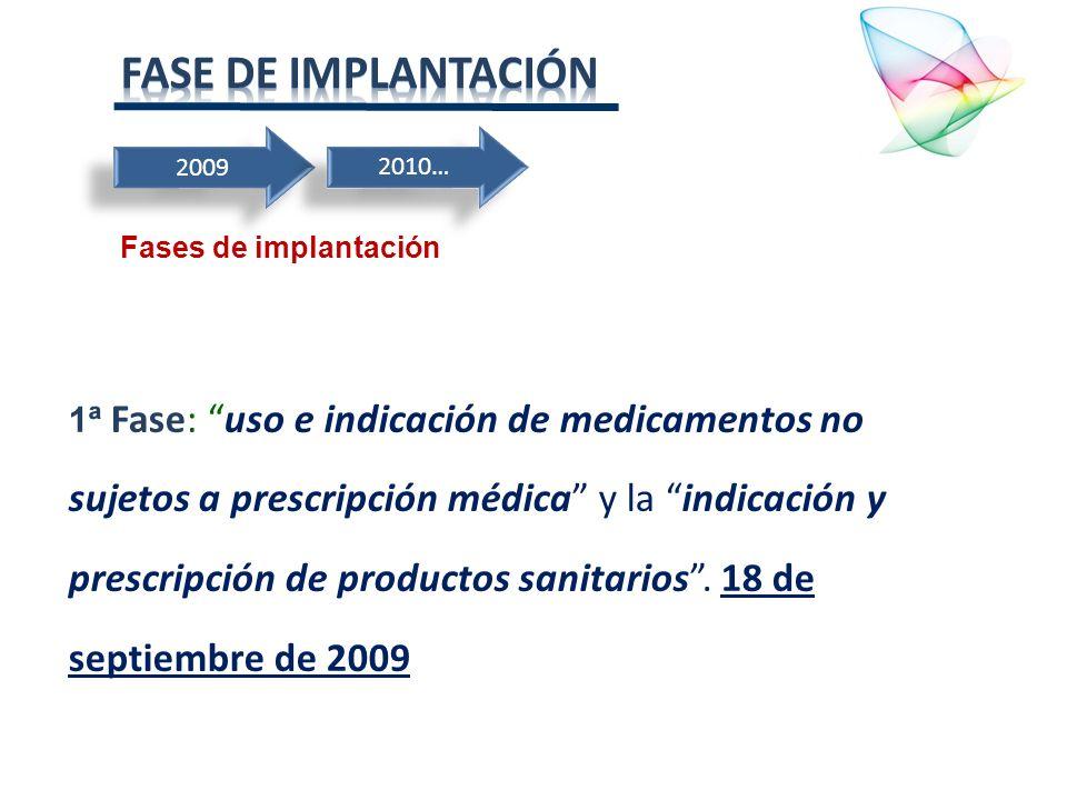 2009 1ª Fase: uso e indicación de medicamentos no sujetos a prescripción médica y la indicación y prescripción de productos sanitarios. 18 de septiemb