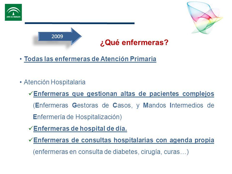 2009 Todas las enfermeras de Atención Primaria Atención Hospitalaria Enfermeras que gestionan altas de pacientes complejos (Enfermeras Gestoras de Cas