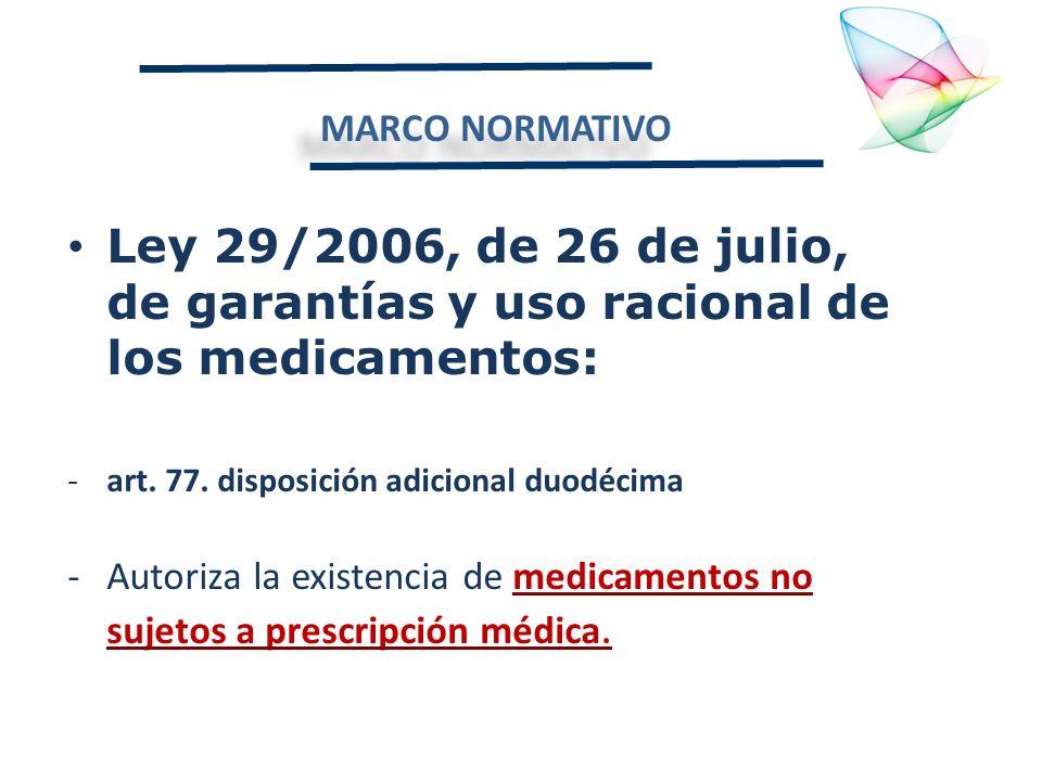 MARCO NORMATIVO Ley 29/2006, de 26 de julio, de garantías y uso racional de los medicamentos: -art. 77. disposición adicional duodécima -Autoriza la e
