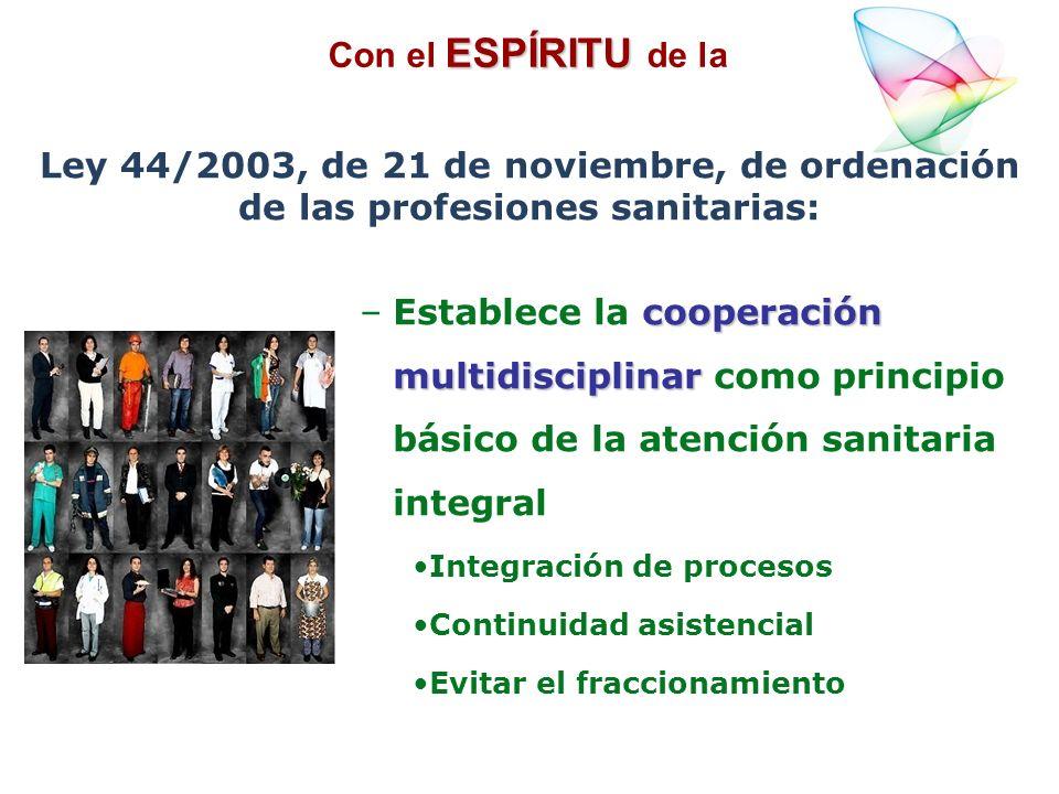 cooperación multidisciplinar –Establece la cooperación multidisciplinar como principio básico de la atención sanitaria integral Integración de proceso