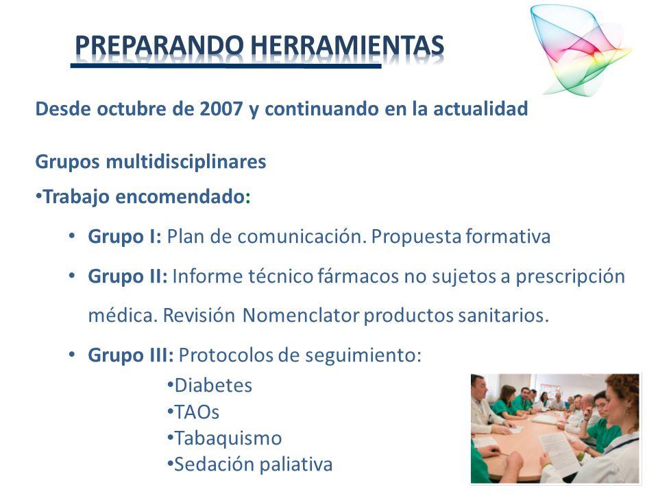 Desde octubre de 2007 y continuando en la actualidad Grupos multidisciplinares Trabajo encomendado: Grupo I: Plan de comunicación. Propuesta formativa