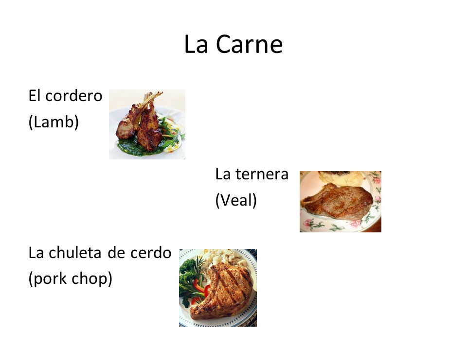 La Carne El cordero (Lamb) La ternera (Veal) La chuleta de cerdo (pork chop)