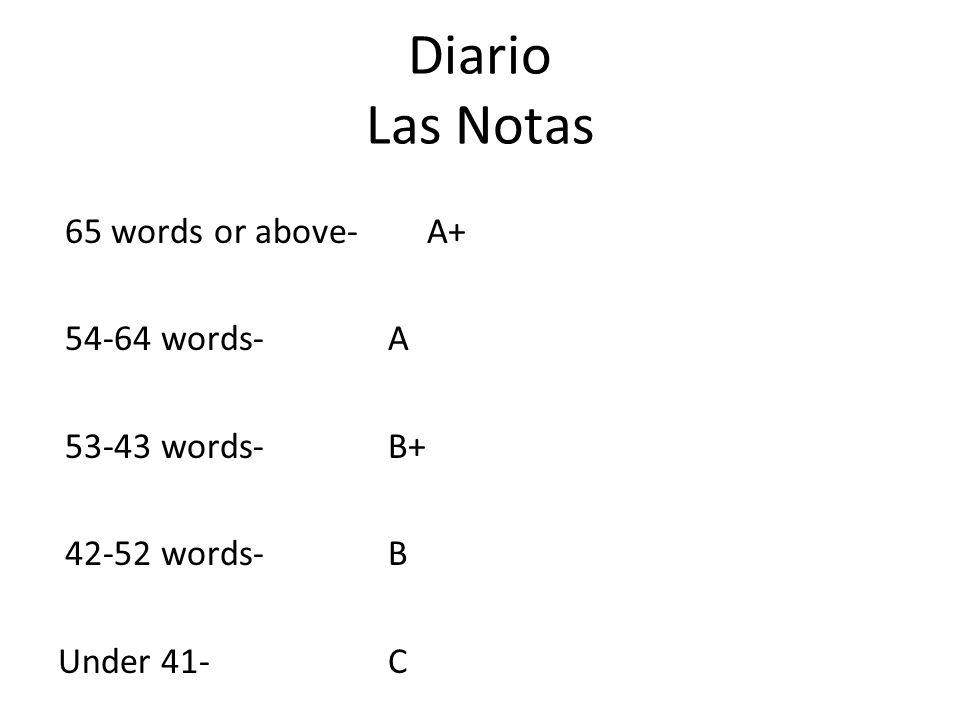 Diario Las Notas 65 words or above- A+ 54-64 words- A 53-43 words- B+ 42-52 words- B Under 41- C
