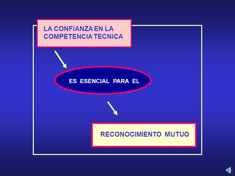 LA CONFIANZA EN LA COMPETENCIA TECNICA ES ESENCIAL PARA EL RECONOCIMIENTO MUTUO