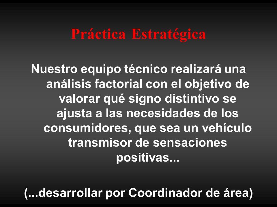 Práctica Estratégica Nuestro equipo técnico realizará una análisis factorial con el objetivo de valorar qué signo distintivo se ajusta a las necesidades de los consumidores, que sea un vehículo transmisor de sensaciones positivas...