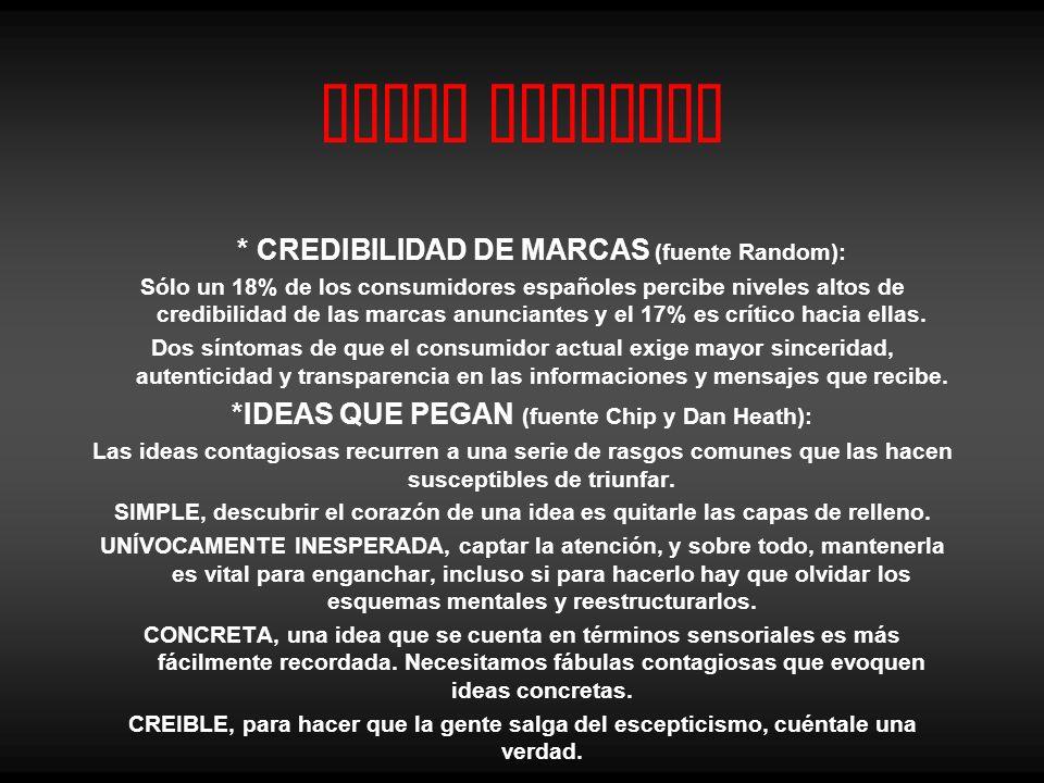 Canal Noticias * CREDIBILIDAD DE MARCAS (fuente Random): Sólo un 18% de los consumidores españoles percibe niveles altos de credibilidad de las marcas anunciantes y el 17% es crítico hacia ellas.