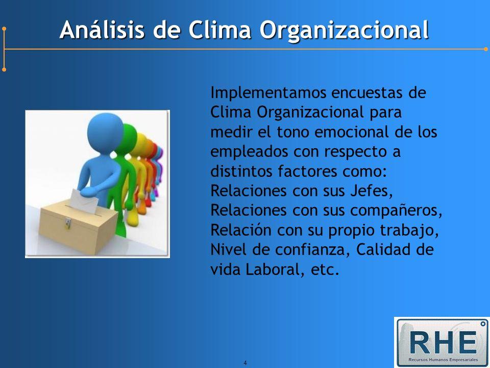 4 Análisis de Clima Organizacional Implementamos encuestas de Clima Organizacional para medir el tono emocional de los empleados con respecto a distin