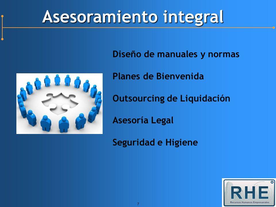 7 Asesoramiento integral Diseño de manuales y normas Planes de Bienvenida Outsourcing de Liquidación Asesoría Legal Seguridad e Higiene