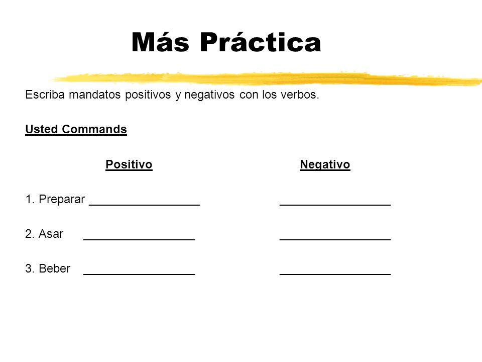 Más Práctica Escriba mandatos positivos y negativos con los verbos. Usted Commands Positivo Negativo 1. Preparar _________________ _________________ 2