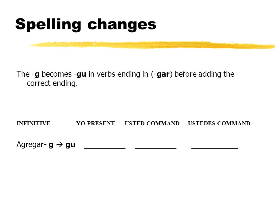 Spelling changes The -g becomes -gu in verbs ending in (-gar) before adding the correct ending.