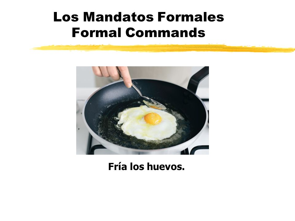 Los Mandatos Formales Formal Commands Fría los huevos.