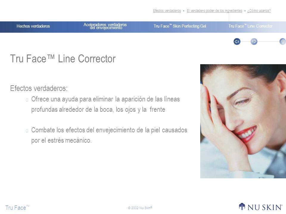 Aceleradores verdaderos del envejecimiento Hechos verdaderosTru Face Skin Perfecting GelTru Face Line Corrector Tru Face © 2002 Nu Skin ® Hechos verda