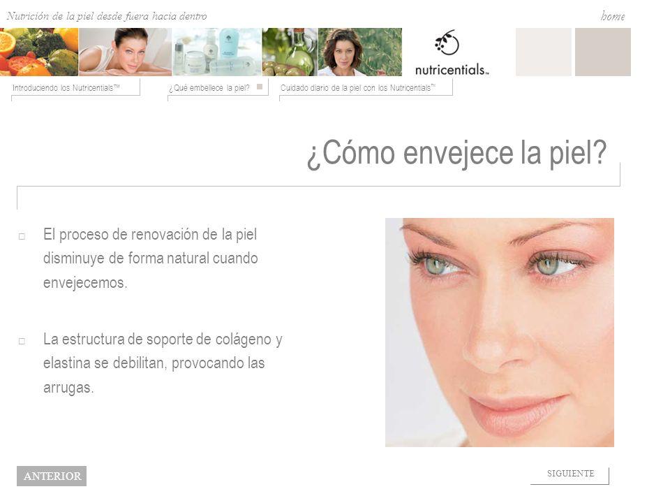 Nutrition from the Outside In ¿Qué embellece la piel?Cuidado diario de la piel con los Nutricentials Introduciendo los Nutricentials home NEXT BACK ¿C