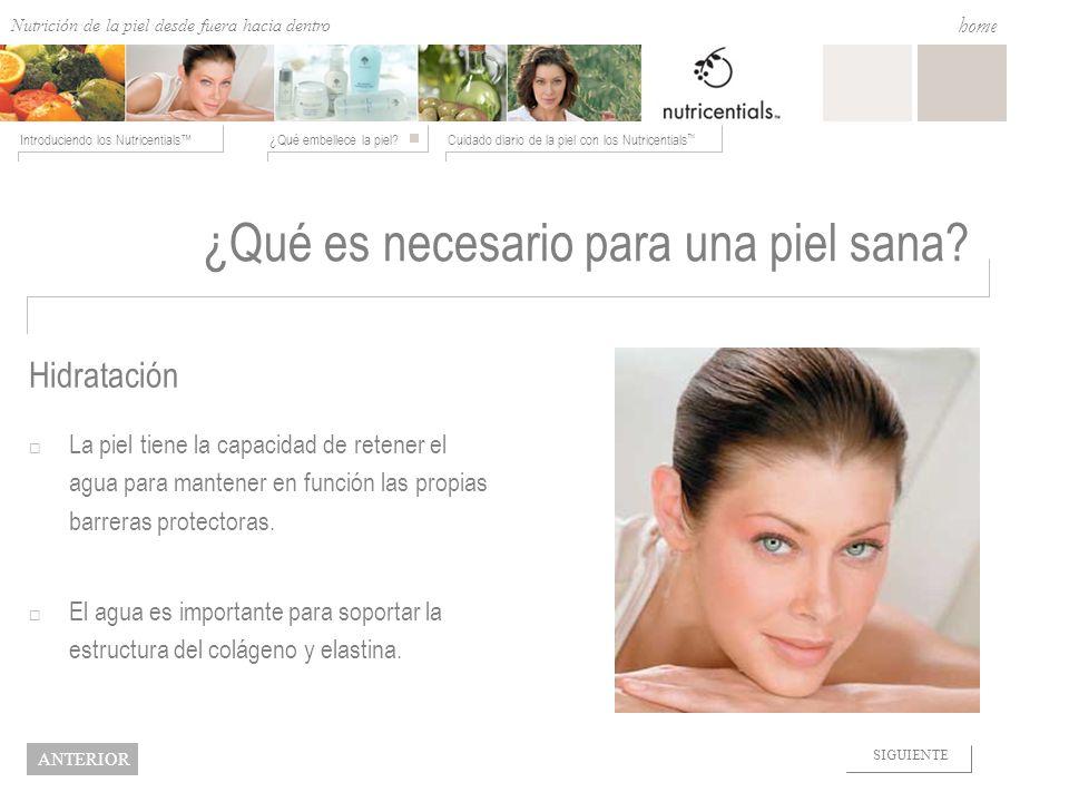 Nutrition from the Outside In ¿Qué embellece la piel?Cuidado diario de la piel con los Nutricentials Introduciendo los Nutricentials home NEXT BACK ¿Q