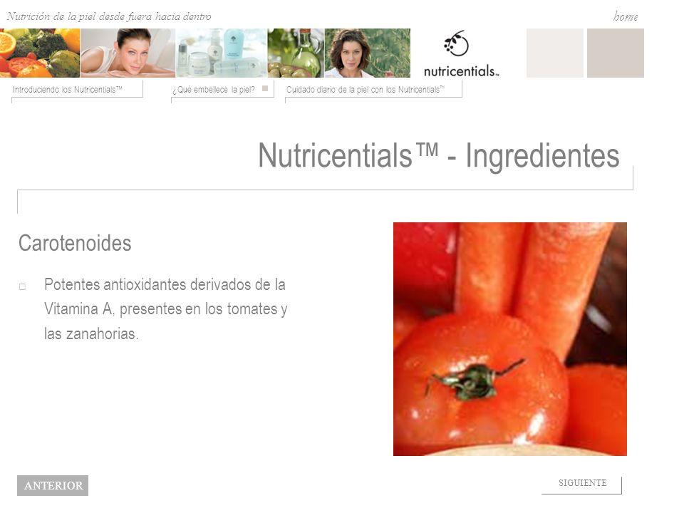 Nutrition from the Outside In ¿Qué embellece la piel?Cuidado diario de la piel con los Nutricentials Introduciendo los Nutricentials home NEXT BACK Nu