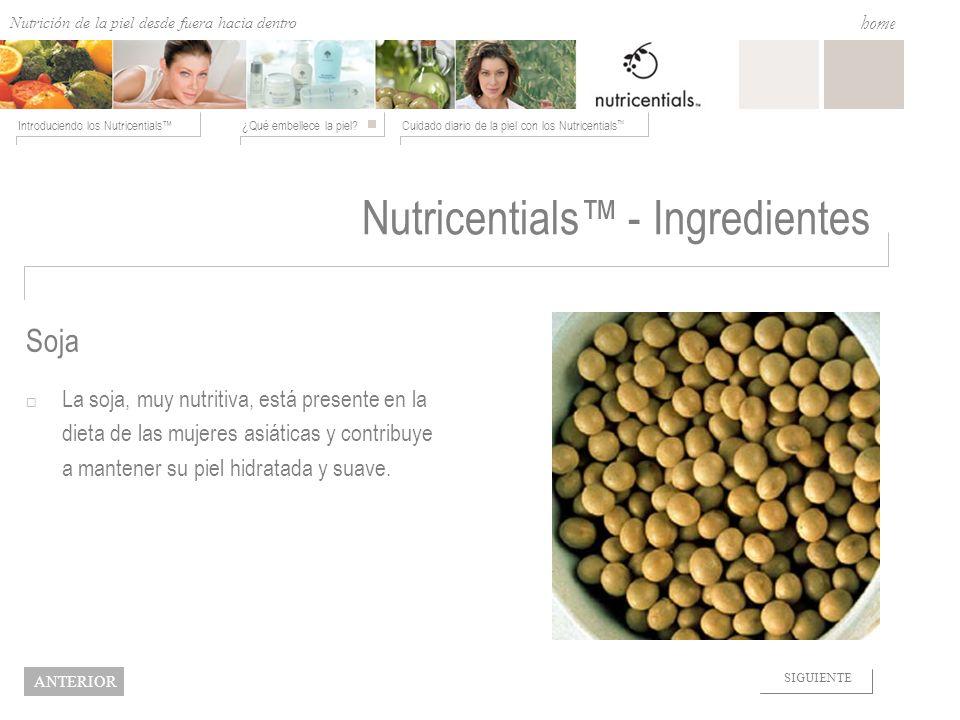 Nutrition from the Outside In ¿Qué embellece la piel?Cuidado diario de la piel con los Nutricentials Introduciendo los Nutricentials home NEXT BACK So