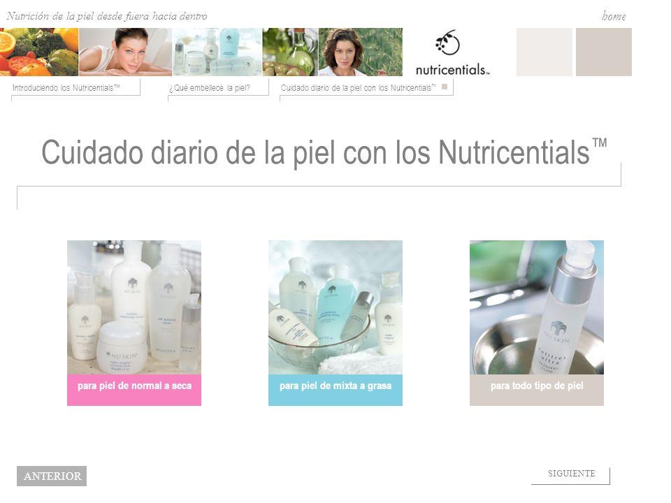Nutrition from the Outside In ¿Qué embellece la piel?Cuidado diario de la piel con los Nutricentials Introduciendo los Nutricentials home NEXT BACK Cu