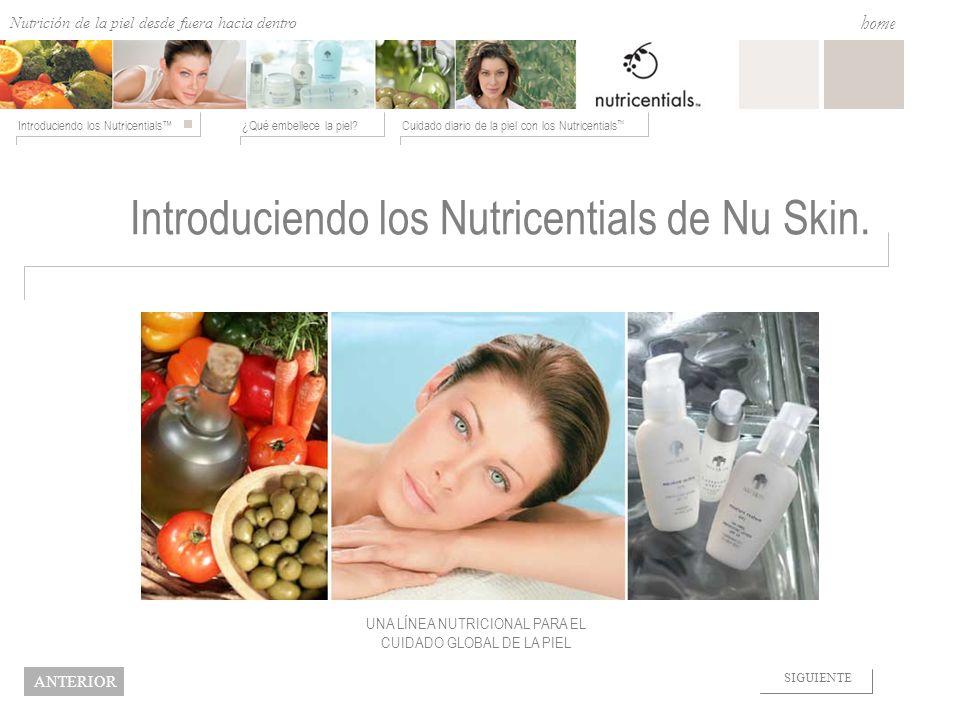 Nutrition from the Outside In ¿Qué embellece la piel?Cuidado diario de la piel con los Nutricentials Introduciendo los Nutricentials home NEXT BACK In