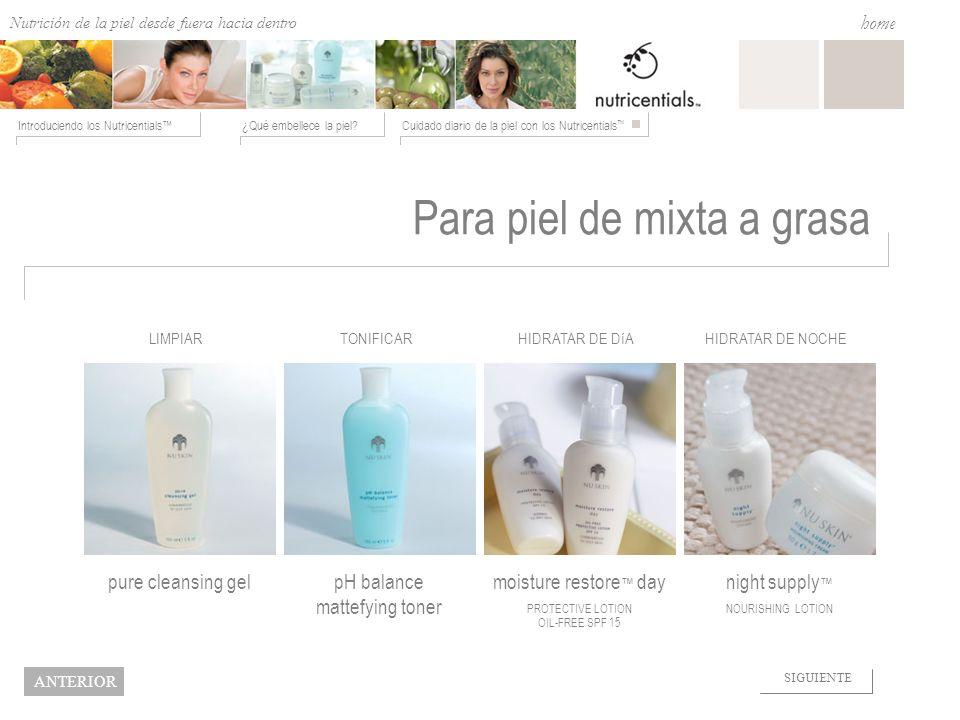Nutrition from the Outside In ¿Qué embellece la piel?Cuidado diario de la piel con los Nutricentials Introduciendo los Nutricentials home NEXT BACK Pa