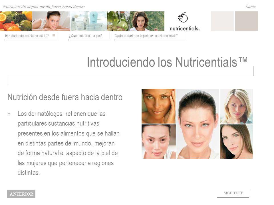 Nutrition from the Outside In ¿Qué embellece la piel?Cuidado diario de la piel con los Nutricentials Introduciendo los Nutricentials home NEXT BACK Tonificar con los Nutricentials El St.