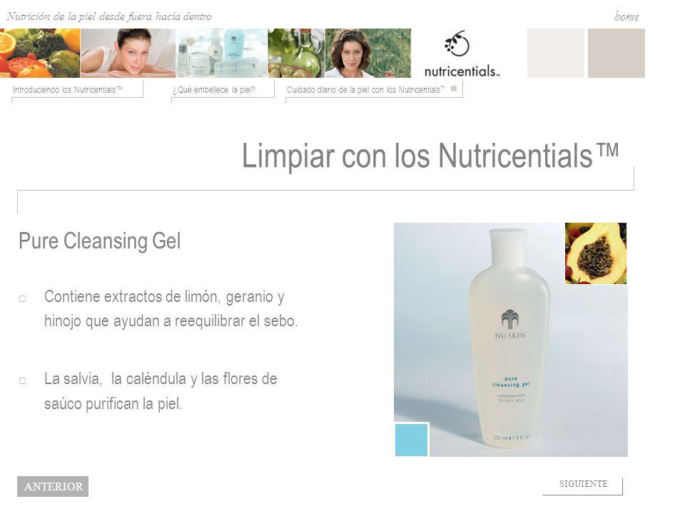 Nutrition from the Outside In ¿Qué embellece la piel?Cuidado diario de la piel con los Nutricentials Introduciendo los Nutricentials home NEXT BACK Li