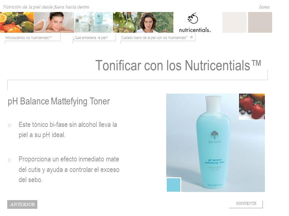 Nutrition from the Outside In ¿Qué embellece la piel?Cuidado diario de la piel con los Nutricentials Introduciendo los Nutricentials home NEXT BACK To