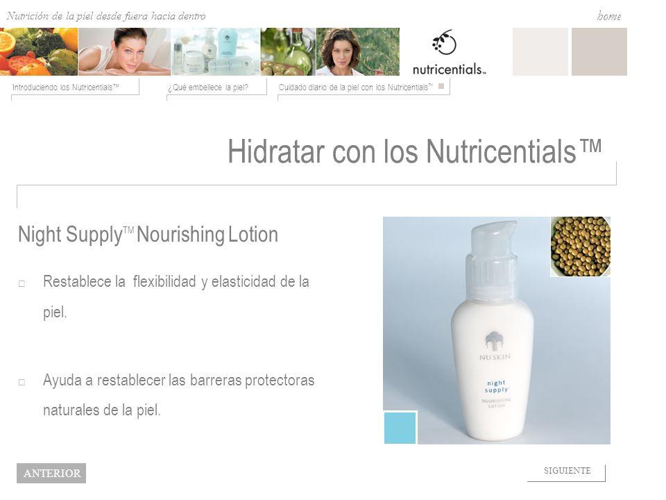 Nutrition from the Outside In ¿Qué embellece la piel?Cuidado diario de la piel con los Nutricentials Introduciendo los Nutricentials home NEXT BACK Hi