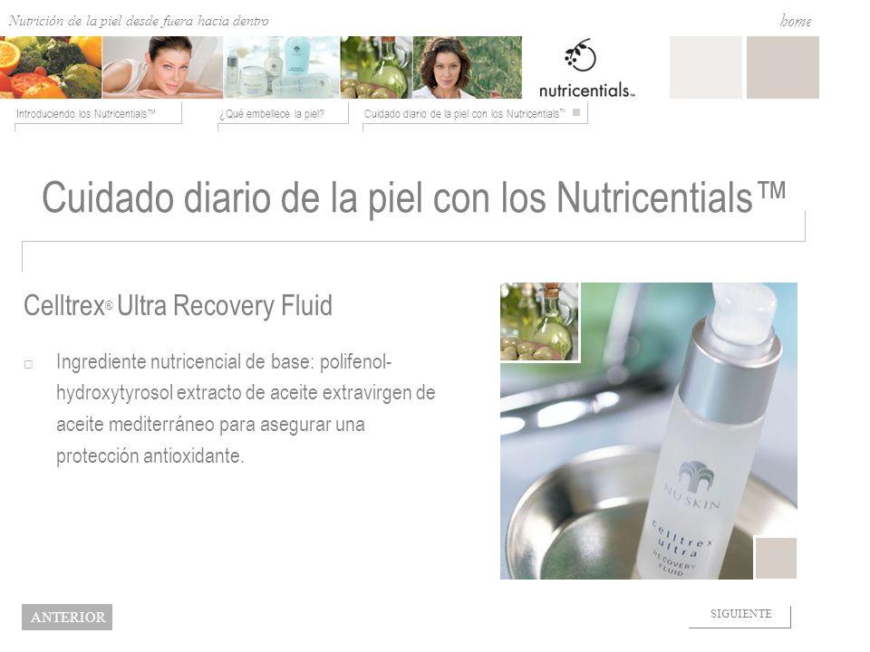 Nutrition from the Outside In ¿Qué embellece la piel?Cuidado diario de la piel con los Nutricentials Introduciendo los Nutricentials home NEXT BACK Ce