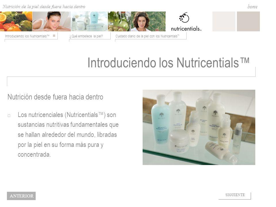Nutrition from the Outside In ¿Qué embellece la piel?Cuidado diario de la piel con los Nutricentials Introduciendo los Nutricentials home NEXT BACK Hidratar con los Nutricentials Para piel mixta o grasa.