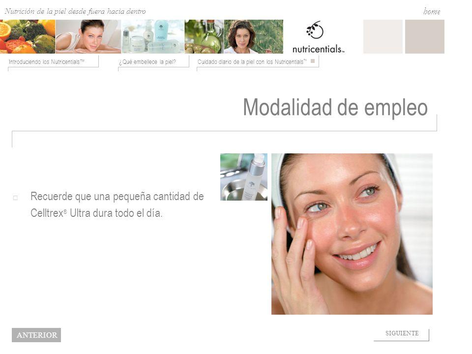 Nutrition from the Outside In ¿Qué embellece la piel?Cuidado diario de la piel con los Nutricentials Introduciendo los Nutricentials home NEXT BACK Mo