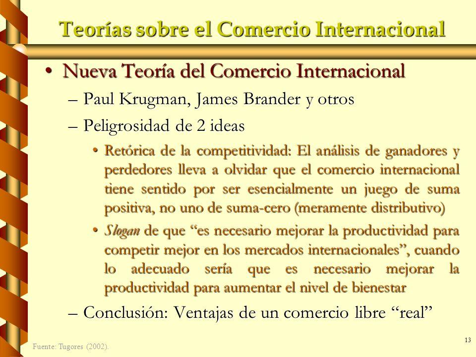 13 Teorías sobre el Comercio Internacional Nueva Teoría del Comercio InternacionalNueva Teoría del Comercio Internacional –Paul Krugman, James Brander