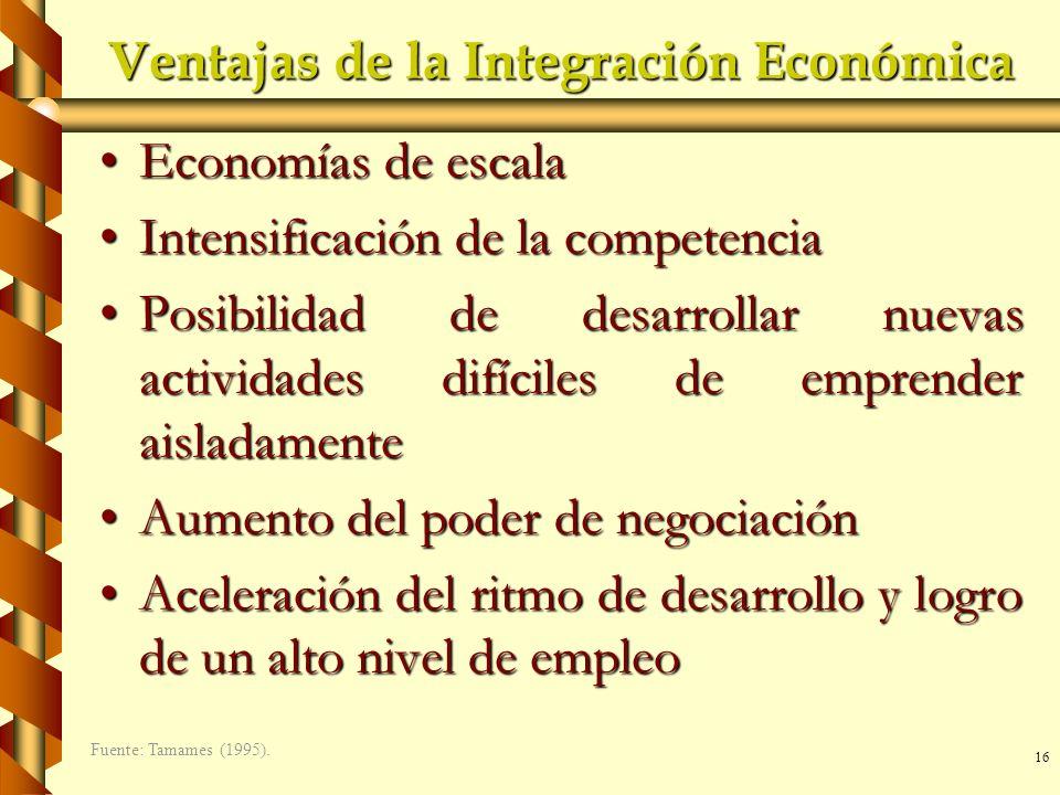 16 Ventajas de la Integración Económica Economías de escalaEconomías de escala Intensificación de la competenciaIntensificación de la competencia Posi