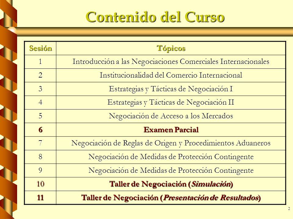 2 Contenido del Curso SesiónTópicos 1 Introducción a las Negociaciones Comerciales Internacionales 2 Institucionalidad del Comercio Internacional 3 Es