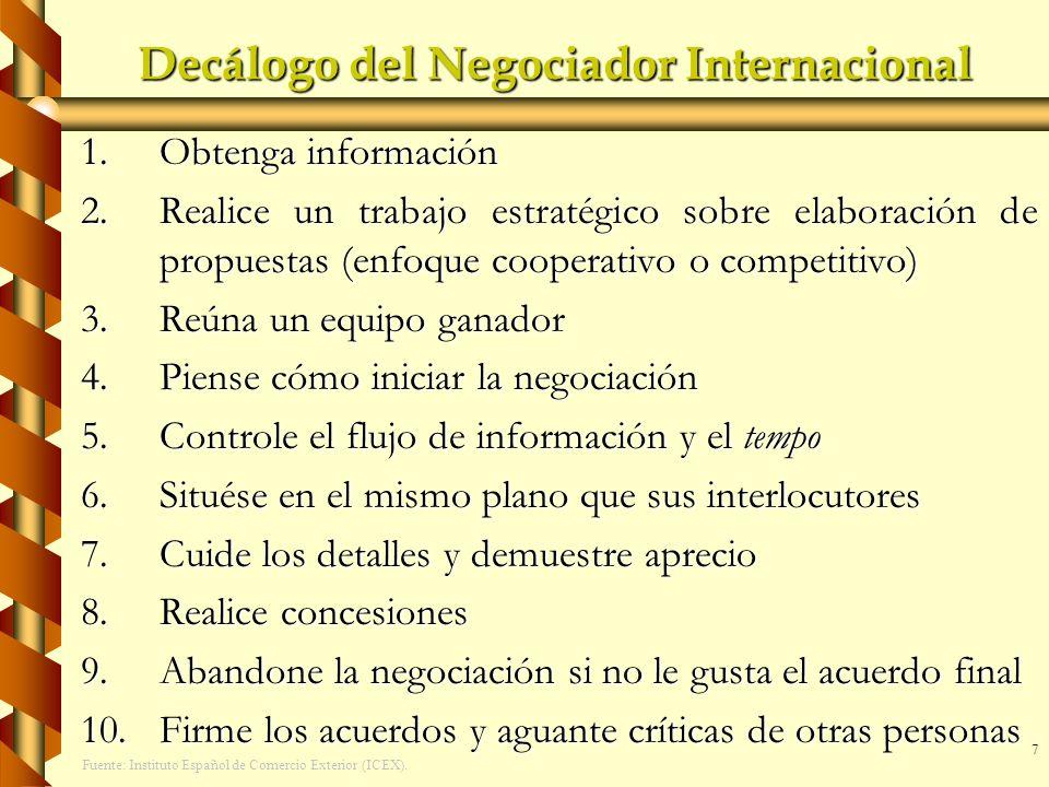 7 Decálogo del Negociador Internacional 1.Obtenga información 2.Realice un trabajo estratégico sobre elaboración de propuestas (enfoque cooperativo o