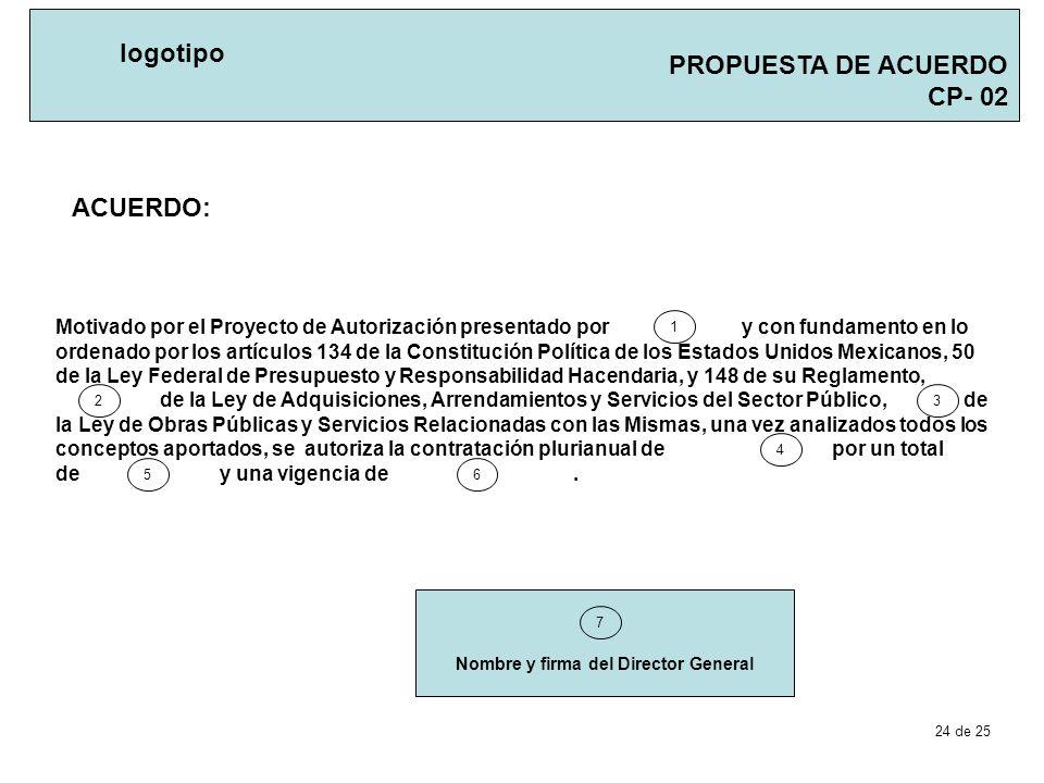 PROPUESTA DE ACUERDO CP- 02 logotipo ACUERDO: Nombre y firma del Director General 7 Motivado por el Proyecto de Autorización presentado por y con fund