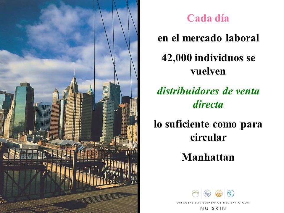 Cada día en el mercado laboral 42,000 individuos se vuelven distribuidores de venta directa lo suficiente como para circular Manhattan