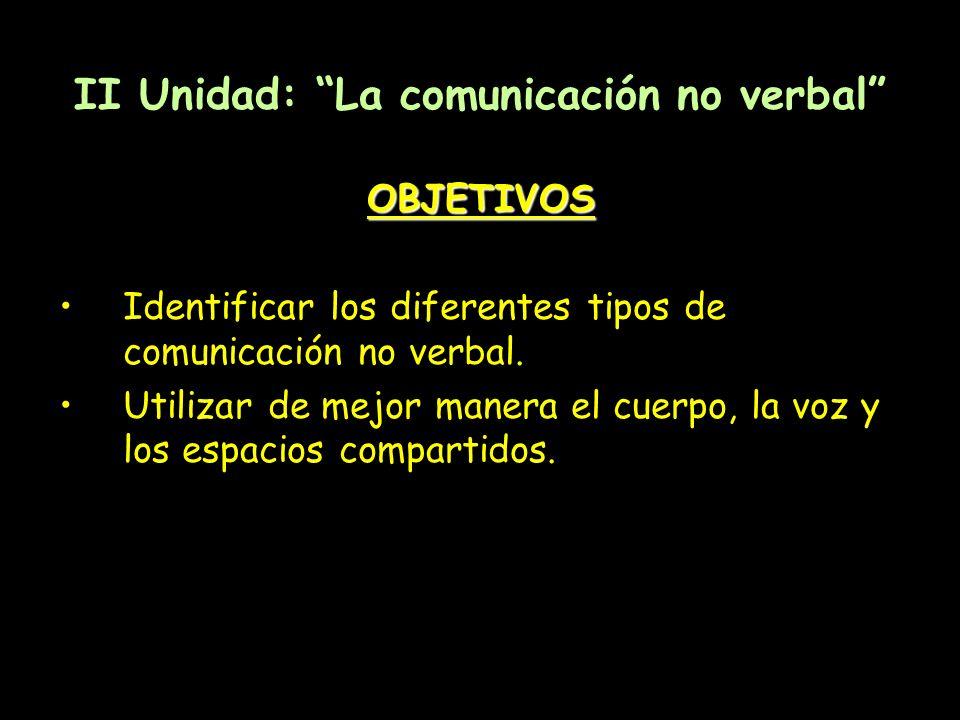 II Unidad: La comunicación no verbal OBJETIVOS Identificar los diferentes tipos de comunicación no verbal. Utilizar de mejor manera el cuerpo, la voz