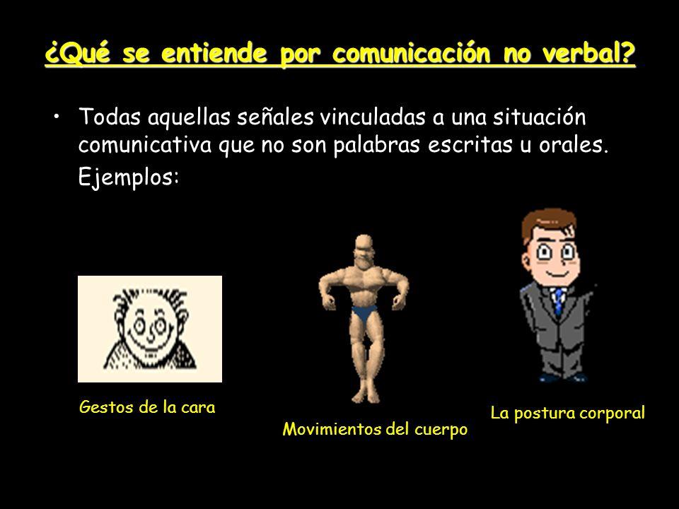 ¿Qué se entiende por comunicación no verbal? Todas aquellas señales vinculadas a una situación comunicativa que no son palabras escritas u orales. Eje