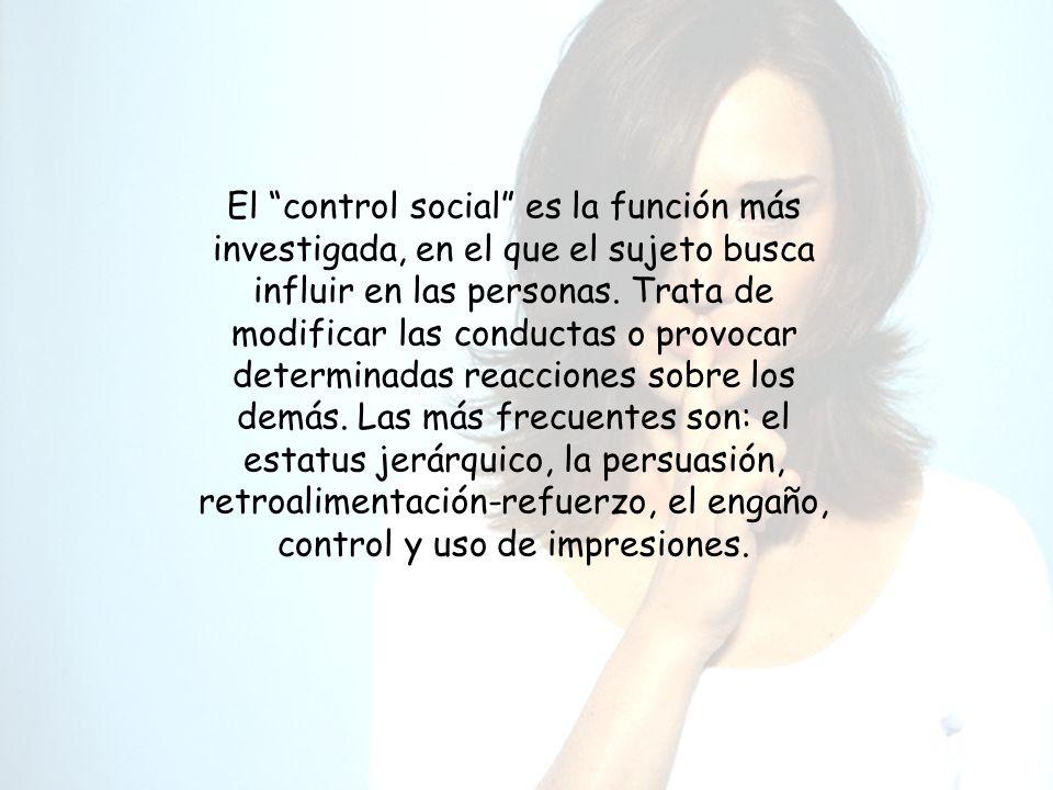 El control social es la función más investigada, en el que el sujeto busca influir en las personas. Trata de modificar las conductas o provocar determ
