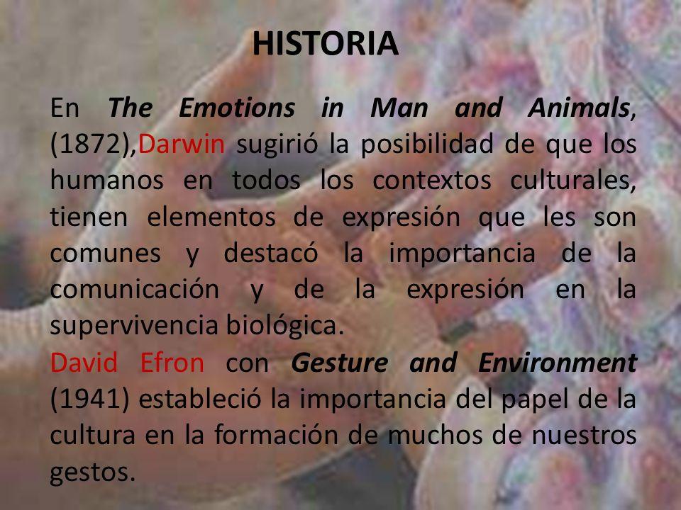 En The Emotions in Man and Animals, (1872),Darwin sugirió la posibilidad de que los humanos en todos los contextos culturales, tienen elementos de exp